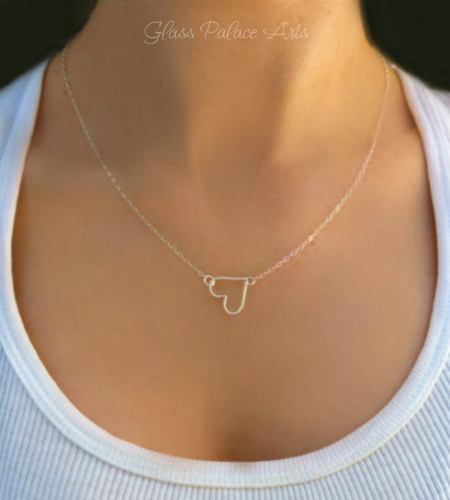 Tiny Heart Necklace - Small Sideways Heart Necklace - Silver, Gold or Rose Gold