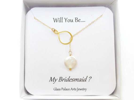 Will You Be My Bridesmaid Gift - Pearl Lariat Maid of Honor Necklace