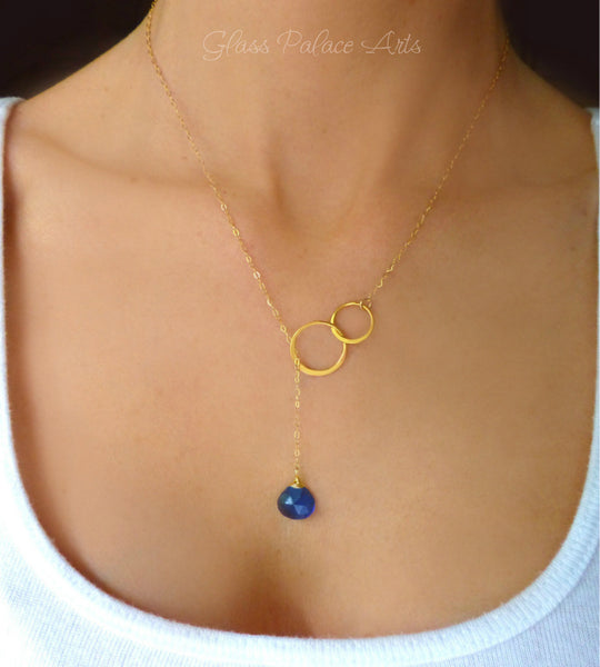 Gemstone Lariat Necklace With Blue Quartz - In Stunning Sterling Silver or Gold