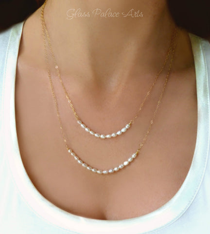 Double Strand Pearl Necklace - Multi Strands of Freshwater Pearls