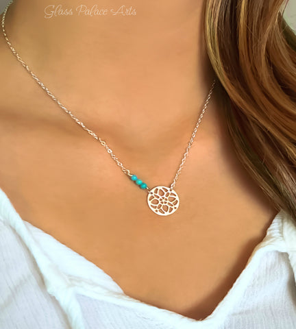 Beaded Turquoise Necklace With Sterling Silver Filigree Medallion