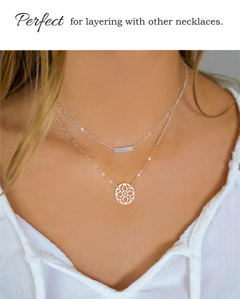 Sterling Silver Round Circle Medallion Pendant Necklace For Women