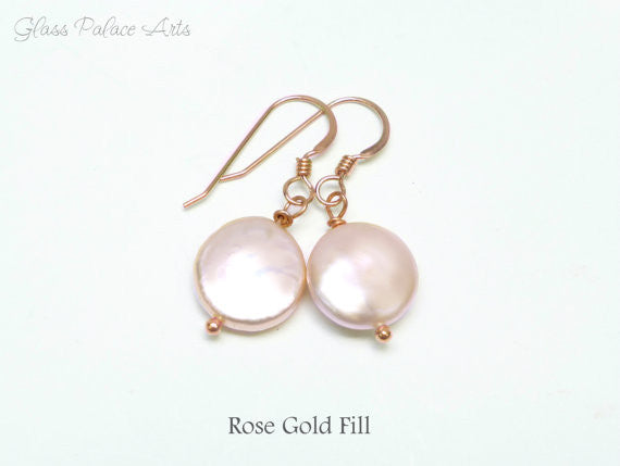 Blush Pink Freshwater Pearl Earrings -Sterling Silver, Gold or Rose Gold