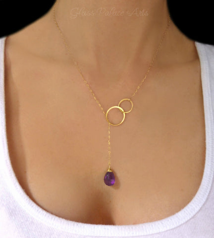 Genuine Amethyst Lariat Necklace For Women - No Clasp -14k Gold Fill, Sterling Silver or Rose Gold Fill
