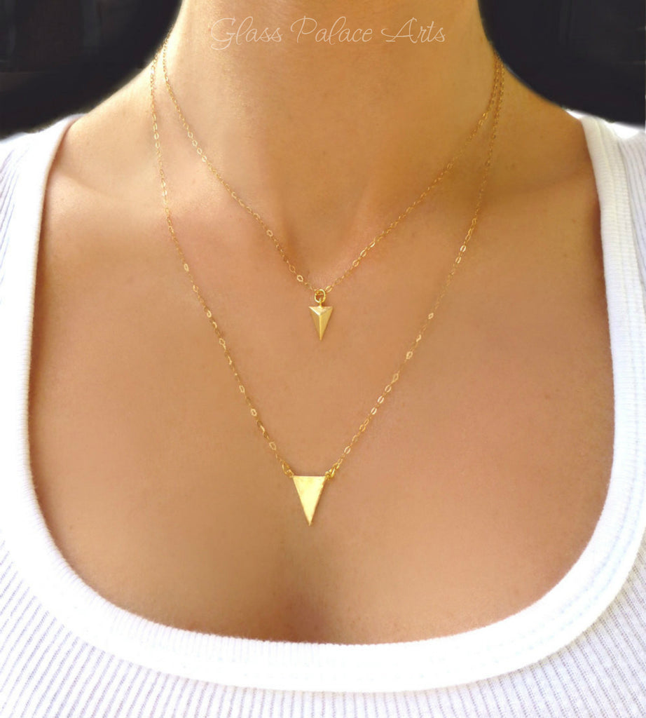 Gold Chevron Necklace - Modern Triangle Pendant Necklace