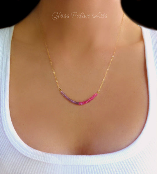 Pink Moonstone and Amethyst Gemstone Necklace