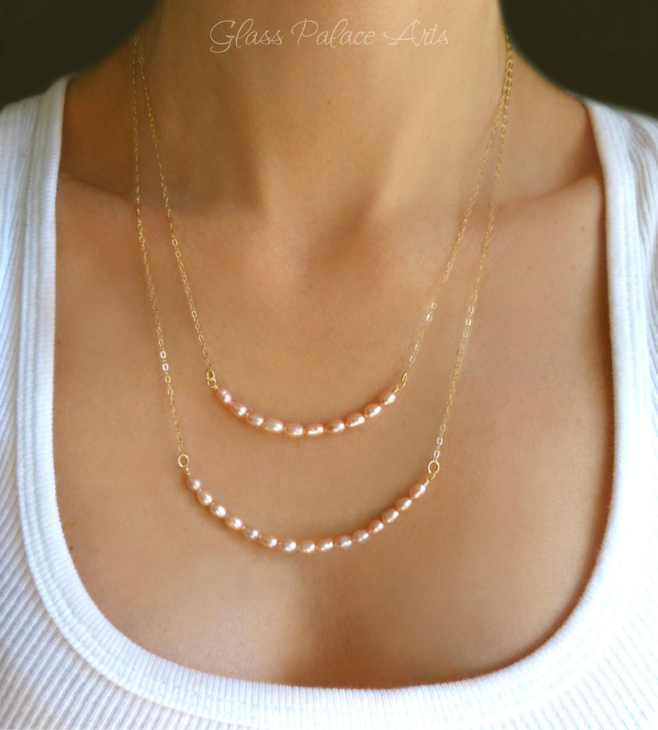 Blush Pink Champagne Freshwater Pearl Multi Strand Necklace For Women
