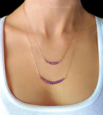 Layered Multi Strand Amethyst Necklace - Gold or Sterling Silver Beaded Amethyst Gemstone Necklace