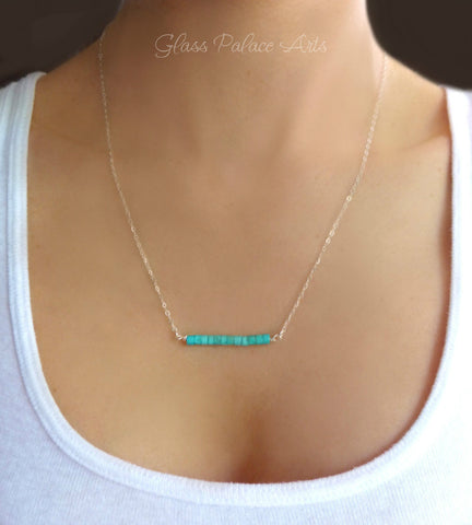 Genuine Turquoise Bar Necklace For Women - Sterling Silver or Gold