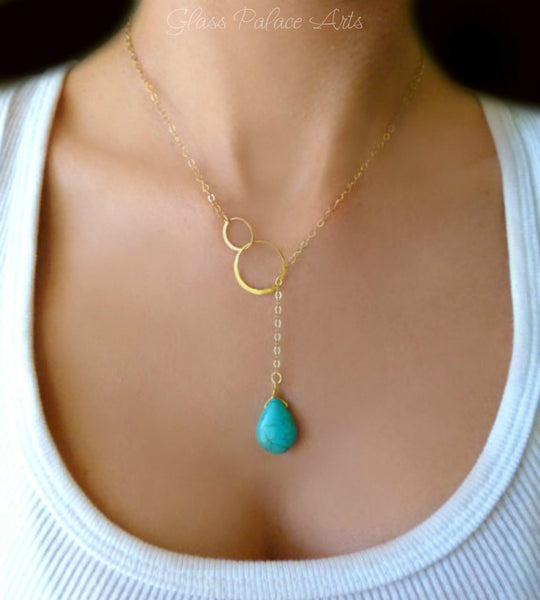 Turquoise Lariat Necklace - Infinity Lariat Necklace