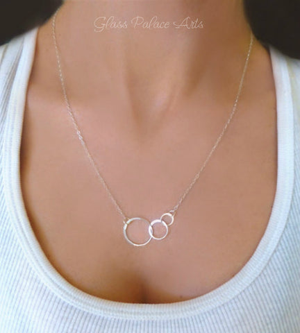 Sterling Silver Triple Linked Infinity Necklace