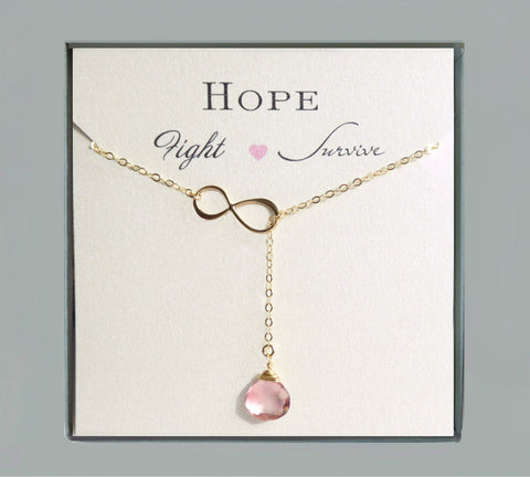 Breast Cancer Survivor Necklace - Pink Topaz Gemstone Lariat