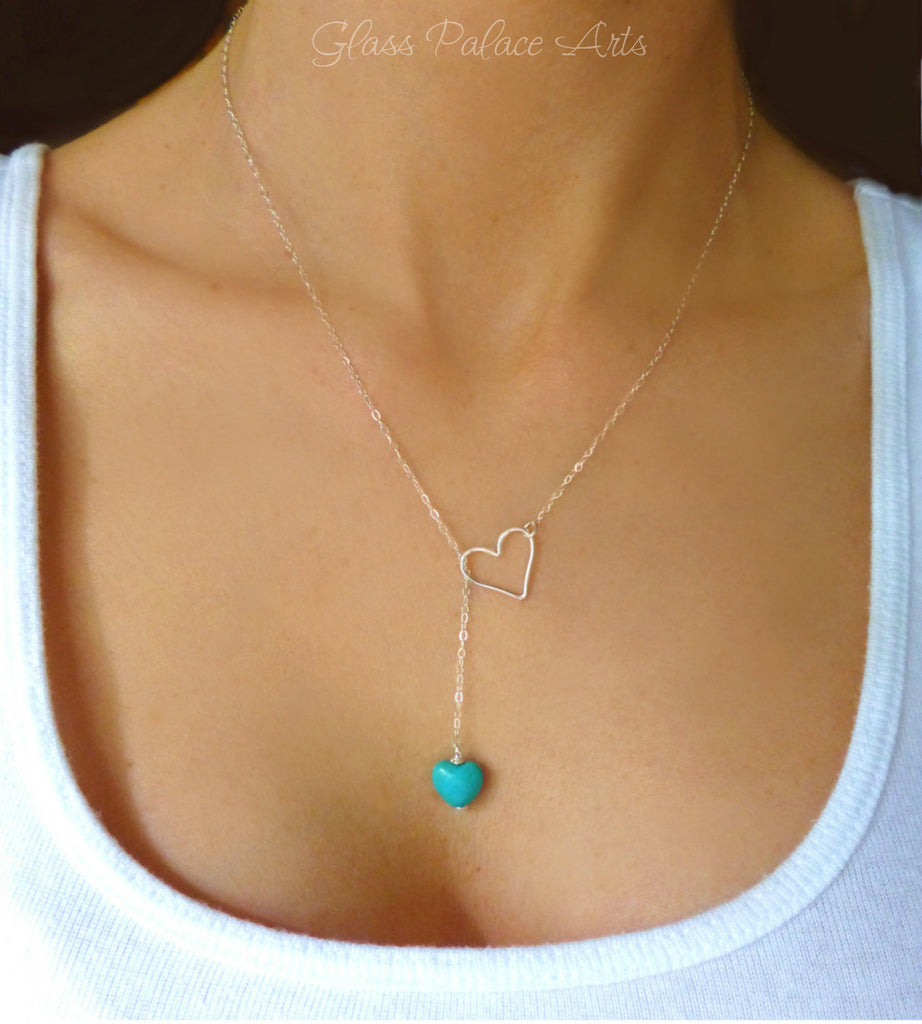 Small Turquoise Heart Lariat Necklace - Sideways Heart Turquoise Necklace