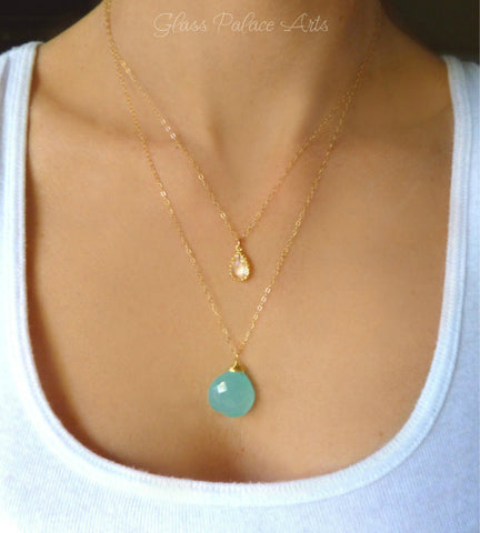 Layered Double Strand Crystal Necklace With Chalcedony - Silver or Gold