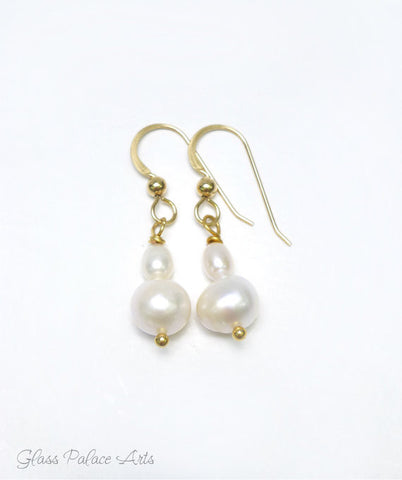 Freshwater Pearl Dangle Earrings - Sterling Silver, 14k Gold Fill, Rose Gold