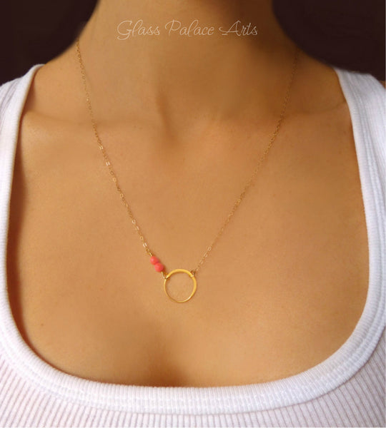Pink Coral Beaded Necklace - Coral Infinity Necklace