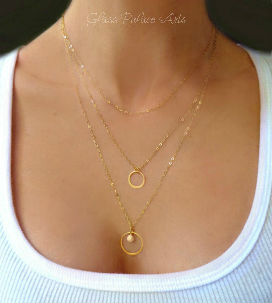 Layered Three Strand Necklace - Layered and Long Triple Strand Charm Necklace - In Gold or Sterling Silver