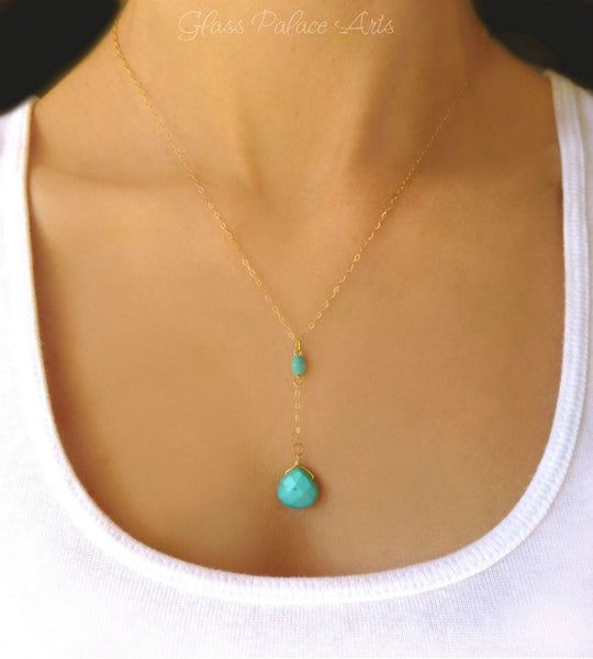 Turquoise Pendant Y Drop Necklace For Women - In Sterling Silver or Gold
