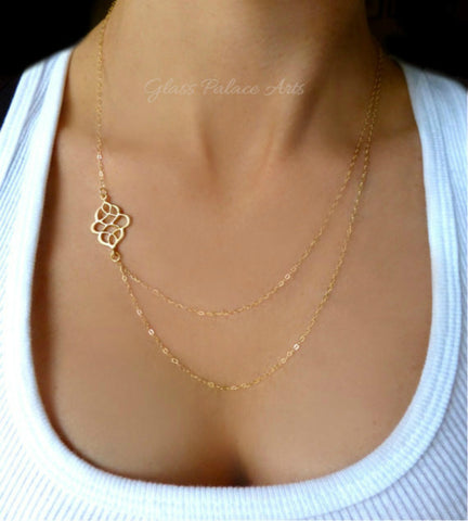 Long Layered Multi Strand Necklace - Gold or Silver