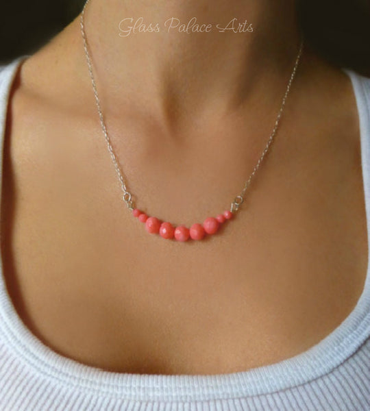 Dainty Pink Coral Necklace - Simple Beaded Strand Necklace