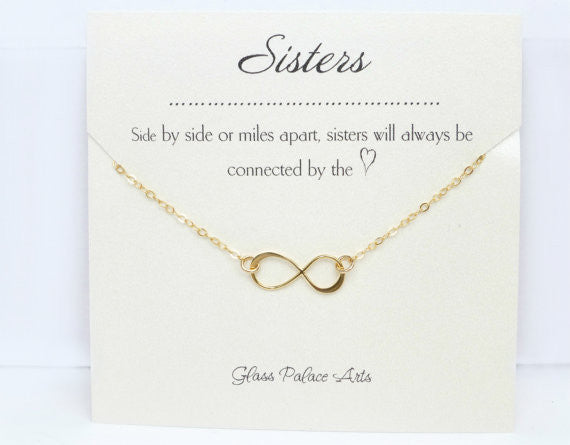 Infinity Sister Necklace - On Sister Note Card