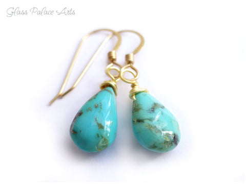 Sleeping Beauty Turquoise Earrings - Sterling Silver or 14k Gold Fill