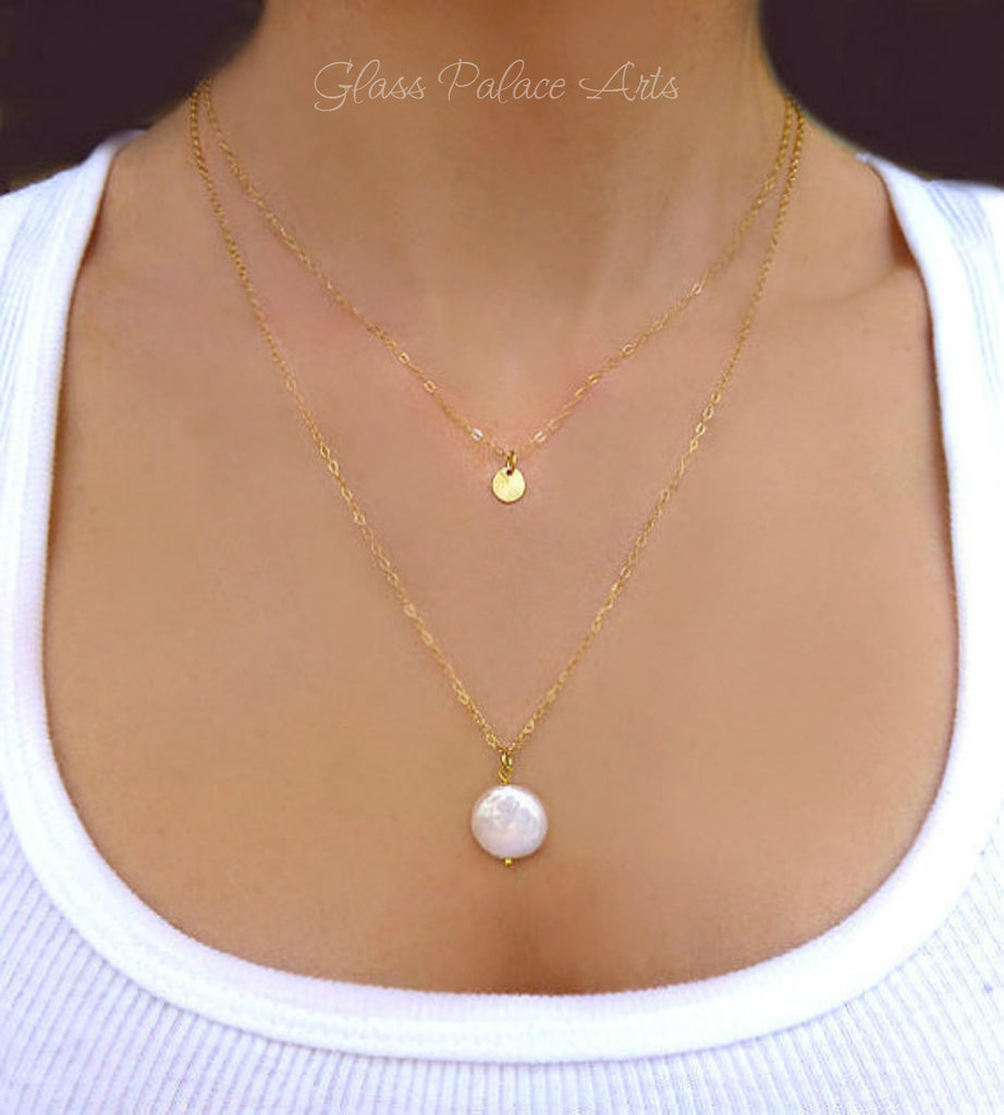 Multi Strand Pearl Necklace - Pearl and Disc Layered Necklace
