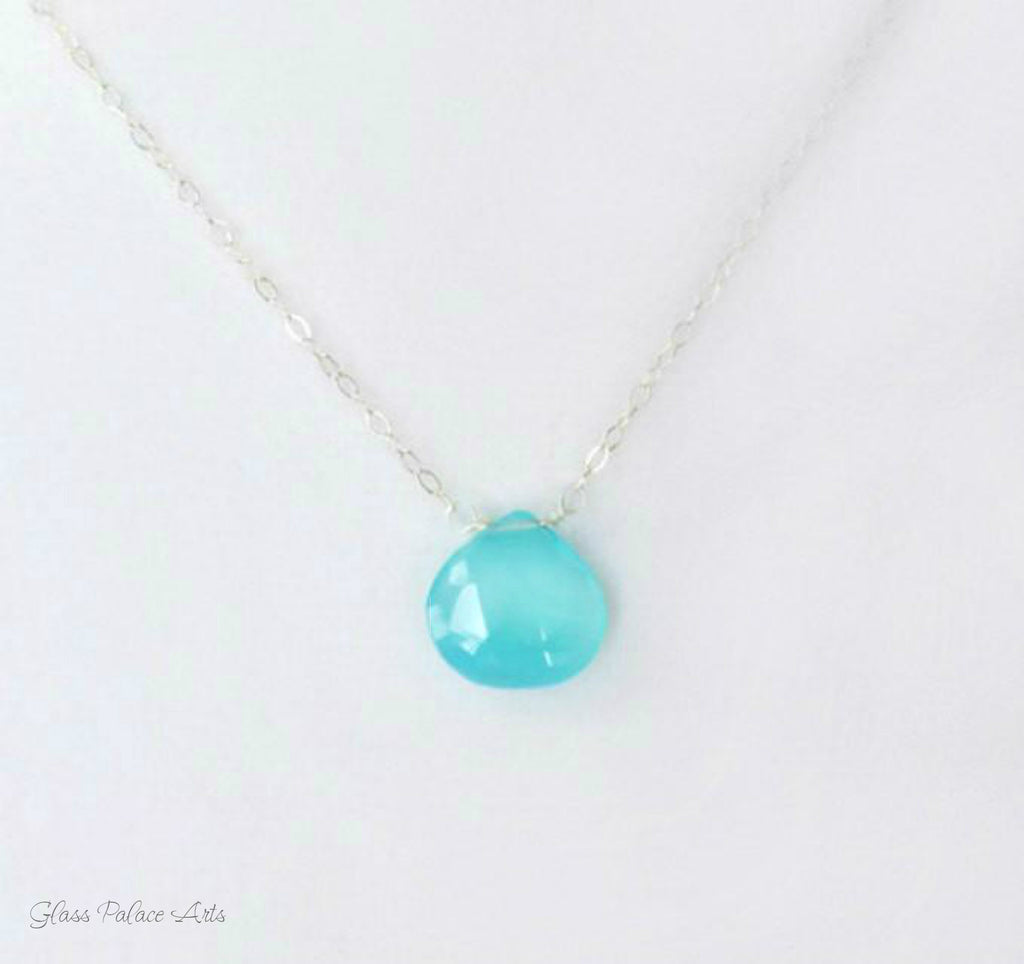Aqua Blue Chalcedony Gemstone Pendant Necklace and Earring Set 14K Rose Gold Filled Jewelry Gift For Women