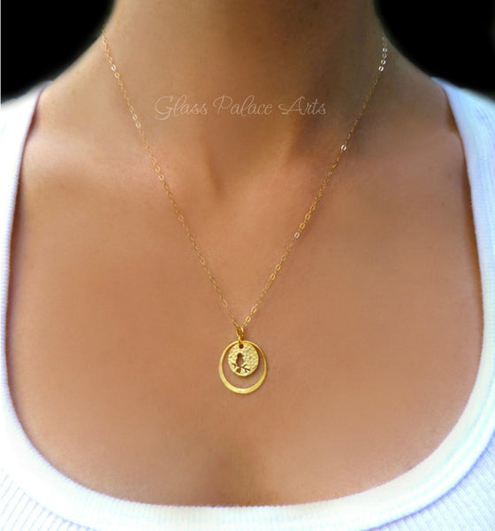 Simple Small Circle Necklace With Tiny Bird Cut Out