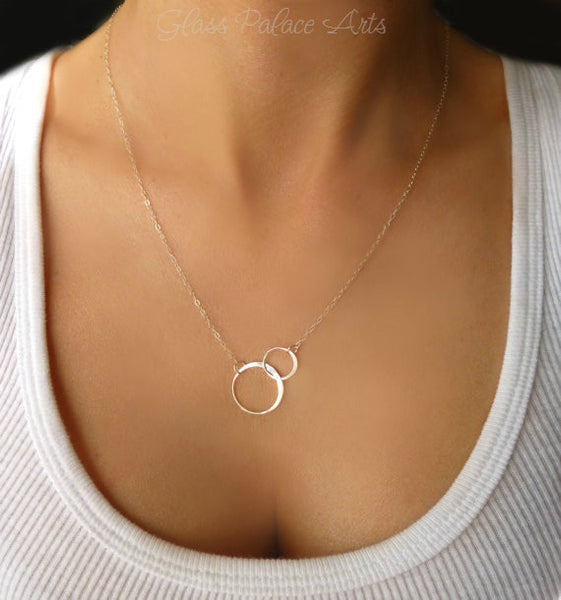 Infinity Necklace With Simple Circle Pendant - Available In Sterling Silver or Gold