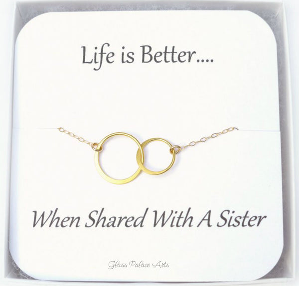 Gold Infinity Necklace - Gift For Sister With Note Card