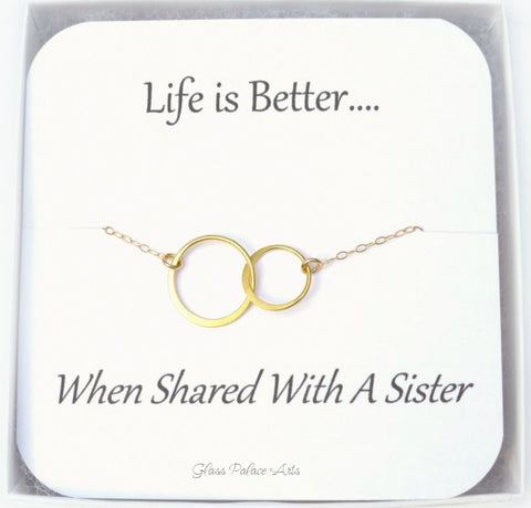 Gold Infinity Necklace For Sisters With Note Card - Gold, Sterling Silver, Rose Gold