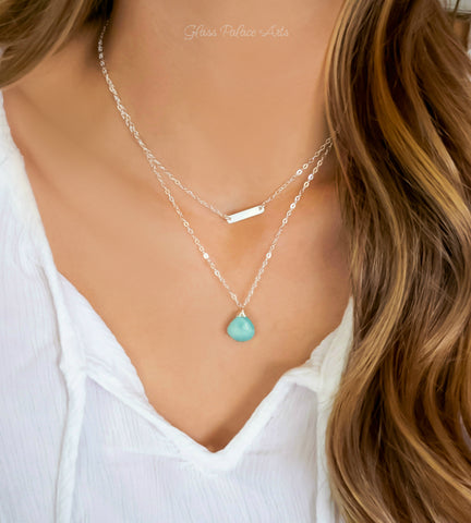 Larimar Necklace With Teardrop Pendant - 925 Sterling Silver, or 14k Gold Fill