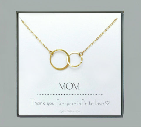 Double Circle Infinity Necklace For Mom With Notecard - Sterling Silver, Gold, Rose Gold