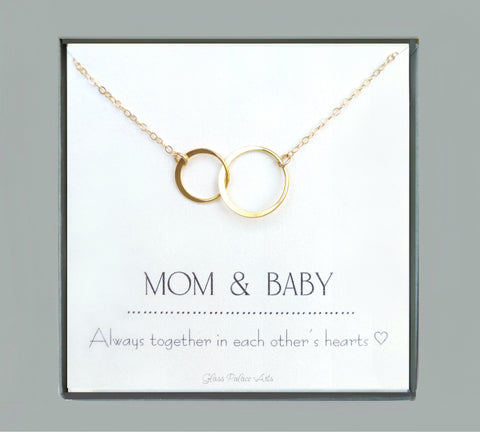 Circle Infinity Necklace On Mom And Baby Card - Sterling Silver, Gold, or Rose Gold