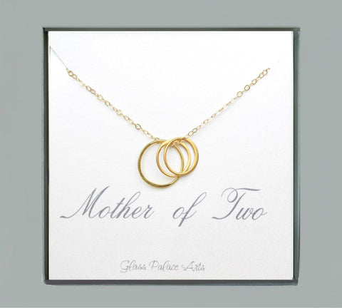 Mother of Two Circle Necklace For Mom - Sterling Silver, Gold, Rose Gold