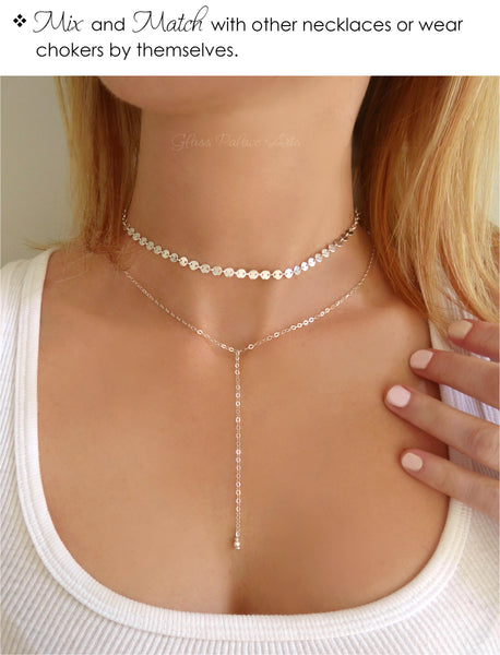 Rose Gold Choker Necklace Set - Dainty Double Choker Chain Necklace