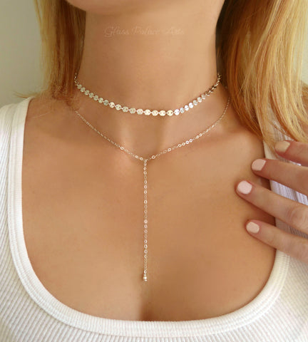 Choker Lariat Necklace Set - Sterling Silver or Gold