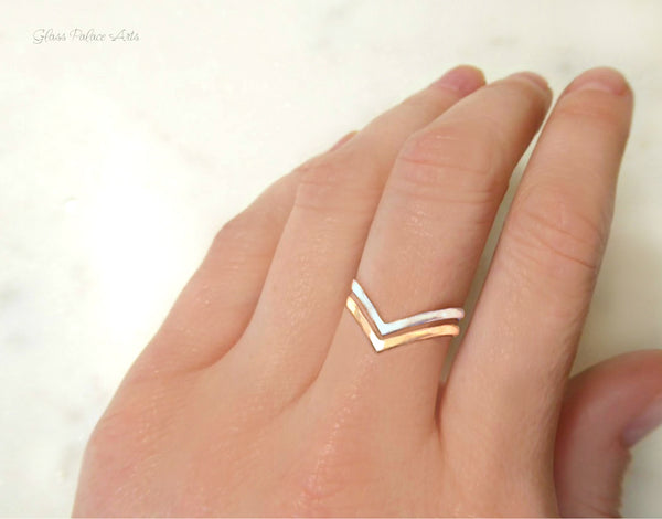 Hammered Chevron Ring For Women - 14k Gold Fill or Sterling Silver