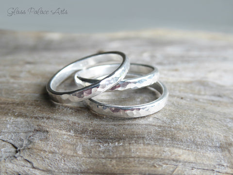 Sterling Silver Knuckle Ring - Hammered Midi Ring Sets