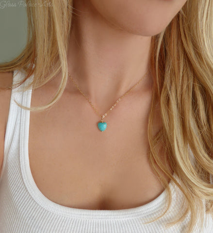 Tiny Turquoise Heart Necklace - Turquoise Charm Necklace