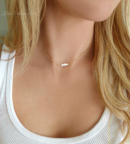 Tiny Pearl Choker Necklace With Genuine Freshwater Pearls - Choose Quantity Of Pearls
