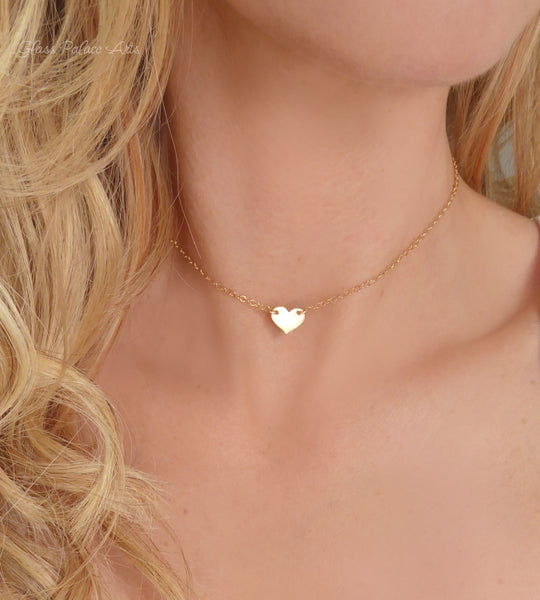 Rose Gold Heart Choker Necklace - Personalized With Letter