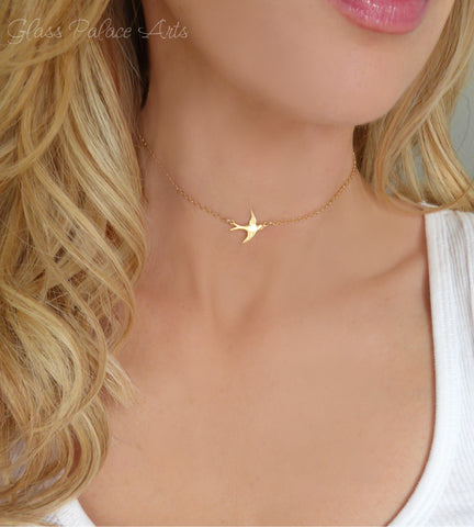 Adjustable Bird Choker Necklace For Women - Gold or Silver