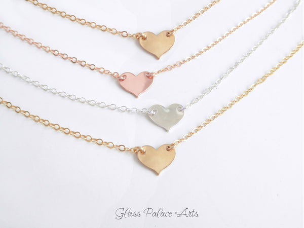 Personalized Initial Tiny Heart Necklace For Women, Sterling Silver or 14k Gold Fill