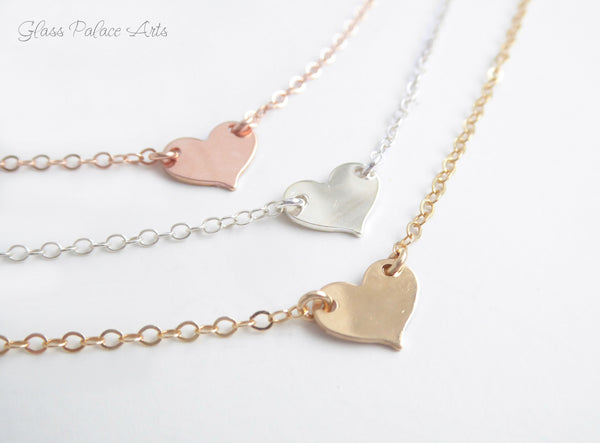 Small Heart Choker Necklace - Personalize With The Letter Of Your Choice - Available in Gold, Sterling Silver or Rose Gold