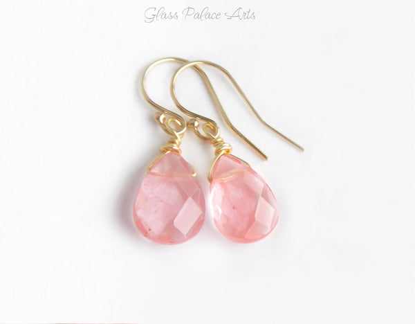 Pink Coral Gemstone Earrings - Peach Teardrop Bridesmaid Earrings - Cherry Quartz Dangle Earrings