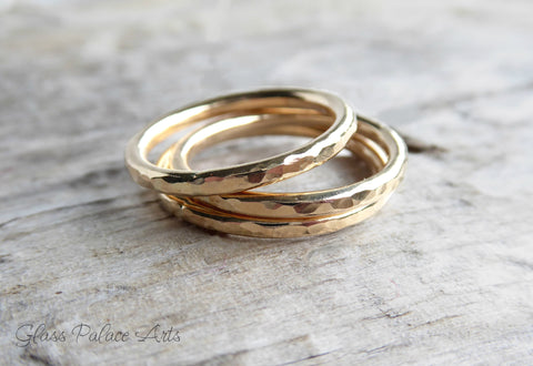Gold Stacking Ring for Women - 14k Gold Hammered Ring
