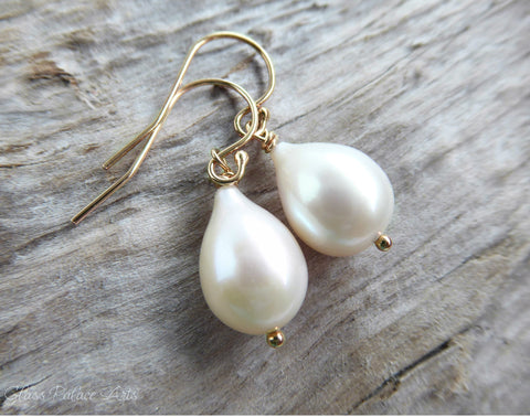 Genuine Freshwater Pearl Teardrop Earrings - Rose Gold, Gold or Sterling Silver