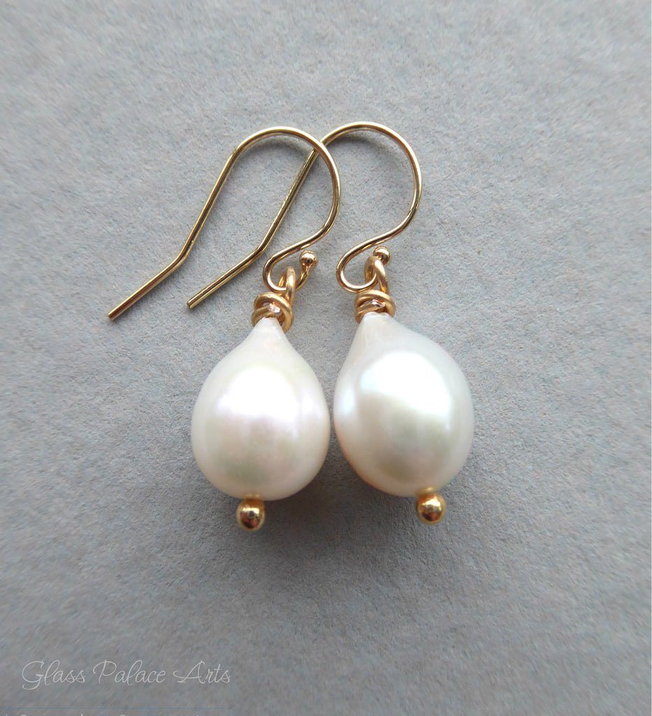 Freshwater Pearl Teardrop Earrings For Women - Sterling Silver, Gold Fill or Rose Gold